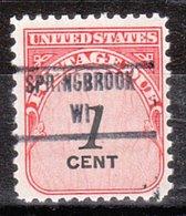 USA Precancel Vorausentwertung Preo, Locals Wisconsin, Springbook 853 - Vorausentwertungen