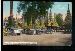 BURMA/ MYANMAR Sacred Well Shrine & Shwe Dagon Pagoda Rangoon Ca 1920 OLD POSTCARD 2 Scans - Myanmar (Burma)