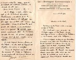 29 BREST La Bretagne Commerciale Texte Théme Elections 1904. - Manuscripts