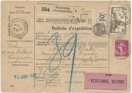 BULLETIN DE COLIS POSTAL 1932 DE STRASBOURG KOENIGSHOFFEN AVEC 2 TIMBRES  ET UN TIMBRE FISCAL - Postmark Collection (Covers)
