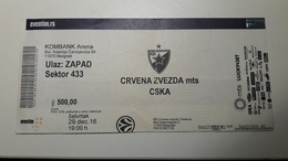 Basketball Ticket EURO LEAGUE Crvena Zvezda Mts Belgrade  : CSKA Moscow 29.12.2016 - Match Tickets