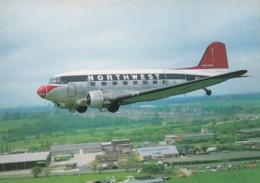Northwest Airlines Propeller Plane Over Coventry England, C1980s Vintage Postcard - 1946-....: Era Moderna