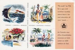 Air Canada Trans-Canada Airlines, Caribbean Florida Destinations, C1960s/70s Vintage Postcard - Otros