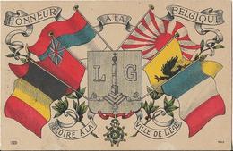 CPA  Belge Représentant Le Drapeau Belge, Le Drapeau Français Et D' Autres Drapeaux  -  Honneur  à  La  Belgique  // TBE - Andere Oorlogen