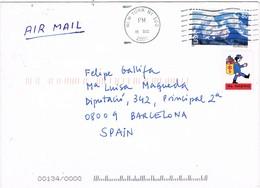30476. Carta Aerea NEW YORK ( USA) 2002 To Spain. Label, Viñeta - Etats-Unis