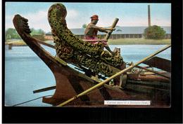 BURMA/ MYANMAR Carved Stern Of  Burmese Boat Ca 1920 OLD POSTCARD 2 Scans - Myanmar (Burma)