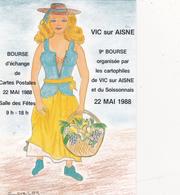 CPM Pirate Carte Pirate (02) VIC Sur AISNE 1988 Pin-up Lady Girl Tirage Limité Signée Illustrateur J.C. SIZLER - Collector Fairs & Bourses