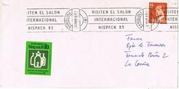 30479. Carta BARCELONA 1983. Salon Internacional HISPACK 83. Viñeta, Label - 1931-Hoy: 2ª República - ... Juan Carlos I
