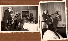 2 Photos Originales Cirque & Clowns De Salon Alcoolisés Accordéoniste En Représentation Déjantée Vers 1960 - Faux Nez - Anonymous Persons