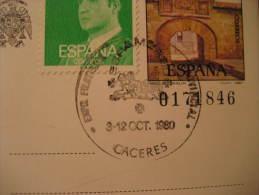 CACERES 1980 Exposicion Filatelica ESPAMER America EXTREMADURA Cancel Postal Stationery Card SPAIN España - 1931-Hoy: 2ª República - ... Juan Carlos I
