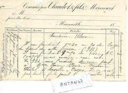 Facture 1/2 Format 18?? / 88 MIRECOURT / CLAUDOT Fils à M. Ulmann - France