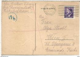BOHMEM UND MAHREN SENT FROM KZ LAGER TERESIENSTADT TEREZIN 1944 OSKAR LÖWY MURDERED OC CAMP ADDRESSED TO WIEN AUSTRIA NA - Bohemia Y Moravia