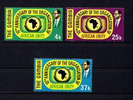 GAMBIA    1973    10th  Anniv  Of  O A U    Set  Of  3    MNH - Gambia (1965-...)