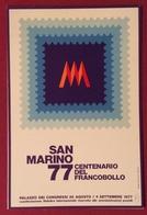 FILATELIA SAN MARINO 77 CENTENARIO DEL FRANCOBOLLO  CARTOLINA N.V. - Cartoline