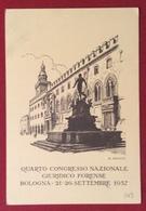 QUARTO CONGRESSO NAZIONALE GIURIDICO FORENSE BOLOGNA 1957  CARTOLINA DI R. FRANZONI  CARTOLERIA STANZANI  N.V. - Cartoline