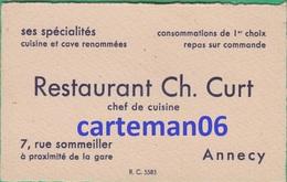 74 - Annecy - Carte De Visite - Restaurant Ch. Curt 7, Rue Sommeiller - Cartes De Visite