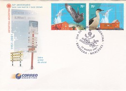50 AÑOS BASE SAN MARTIN Y BASE BROWN, ANTARTIDA-FDC MERCEDES 2001-ARGENTINE-BLEUP - Research Stations