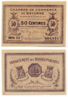 1914-1918 // C.D.C. // BAYONNE // 30 Janvier 1918 // Cinquante Centimes // Sans Filigrane - Chambre De Commerce