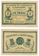 1914-1918 // C.D.C. // BAYONNE // 22 Mai 1916 // Un Franc // Sans Filigrane - Chambre De Commerce