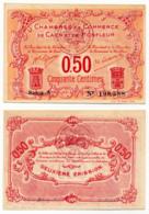 1914-1918 // C.D.C. // CAEN & HONFLEUR // 1915 / 1920 // Cinquante Centimes // Filigrane Abeilles - Chambre De Commerce
