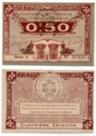 1914-1918 // C.D.C. // CAEN & HONFLEUR // 1915 / 1920 // Cinquante Centimes // Sans Filigrane - Chambre De Commerce