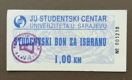 BOSNIA AND HERZEGOVINA Ration Meal Voucher STUDENTSKI CENTAR SARAJEVO - Bosnia Erzegovina