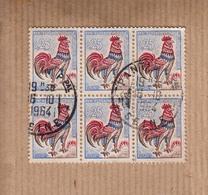 Coq De DECARIS  25c      BLOC De 6       Oblitere   Le 16 10 1964  A PANTIN Seine     Voir Scan  Recto-verso - 1962-65 Cock Of Decaris