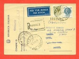 STORIA POSTALE PER L'ESTERO-CARTOLINA ELETTORALE RACCOMANDATA AEREA-DA  COSSATO PER LO ZAMBIA - 6. 1946-.. Republic