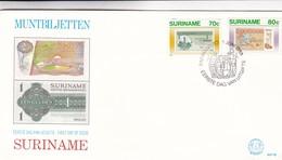 MUNTBILJETTEN-FDC 1983 - 2 COLOR STAMPS SURINAME-BLEUP - Surinam
