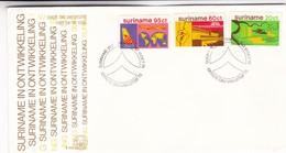 SURINAME IN ONTWIKKELING-FDC 1978 - 3 COLOR STAMPS SURINAME-BLEUP - Surinam