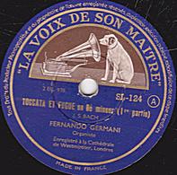 78 Trs - 30 Cm - état TB - TOCCATA ET FUGUE En Ré Mineur 1re Et Fin - FERNANDO GERMAIN - 78 Rpm - Gramophone Records