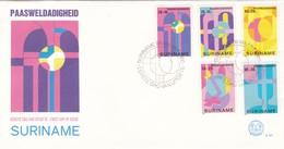 PAASWELDADIGHEID-FDC 1978 - 5 COLOR STAMPS SURINAME-BLEUP - Surinam