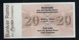 "Test Note ""BUNKER RAMO - TRÜB"" Testnote, Typ A, 20 Units, Beids. Druck, RRRRR, UNC - Suisse"