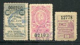 Stempelmarken / 1900 Ff. / 3 Int. Werte, Santa Fe O, Control Del Talon O, Renta Prov. Cordoba-Impuestos (27228) - Briefmarken