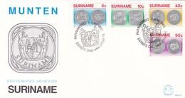 MUNTEN-FDC 1982 4 COLOR STAMPS SURINAME-BLEUP - Surinam