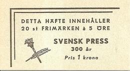 SWEDEN, 1945, Booklet 73 (Facit), Mi 312, Swedish Press - Boekjes