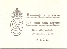 SWEDEN, 1947, Booklet 82 (Facit), Mi 329, Gustav V, 40 Years King - Boekjes