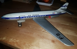 Rare Superbe Avion A Friction Caravelle Air France Annees 50-60 - Toy Memorabilia