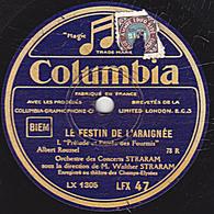 78 Trs - 30 Cm - état TB - 2 Disques - LE FESTIN DE L'ARAIGNEE  Orchestre Des Concerts STRARAM - 78 Rpm - Gramophone Records