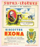 Buvard Biscottes EXONA Napoléon Et Ses Maréchaux Kellermann - Biscottes
