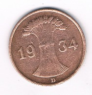 1 PFENNIG  1934  D DUITSLAND /7768/ - [ 4] 1933-1945 : Third Reich