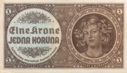 Bohemia & Moravia 1 Korun, P-3a - UNC - Czechoslovakia