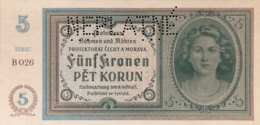 Bohemia & Moravia 5 Korun, P-4s - Specimen - UNC - Cecoslovacchia