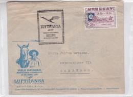 FIRST FLIGHT VUELO INAGURAL MONTEVIDEO~HAMBURGO 1957 LUFTHANSA-BLEUP - Uruguay