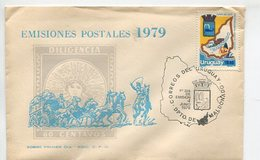 SOBRE PRIMER DIA EMISIONES POSTALES 1979 MATASELLO CORREOS DEL URUGUAY DPTO DE MALDONADO FDC - LILHU - Uruguay