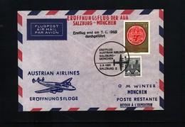 Austria / Oesterreich 1965 Austrian Airlines First Flight  Salzburg - Muenchen - Premiers Vols AUA