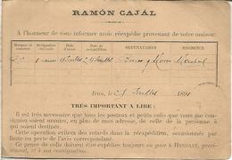 ENTERO POSTAL CON IMPRESION PRIVADA RAMON CAJAL 1891 DE IRUN GUIPUZCOA A CHAUX DE FONDS SUIZA - 1850-1931