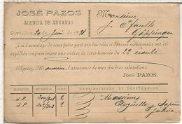 ENTERO POSTAL CON IMPRESION PRIVADA JOSE PAZOS DE PORT BOU GERONA A GOPPINGEN 1891 - 1850-1931