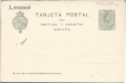ENTERO POSTAL ALFONSO XIII PARA PORTUGAL Y GIBRALTAR EMISION 1916 NUMERACION CEROS MUESTRA SPECIMEN - 1850-1931