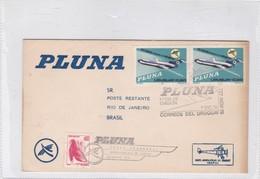 FIRST FLIGHT PLUNA. FDC VUELO INAGURAL MONTEVIDEO RIO DE JANEIRO 1978. STAMP A PAIR-BLEUP - Uruguay